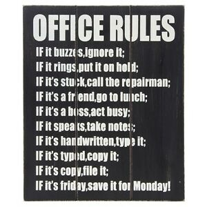 wooden wall art office rules colleague workmate gift new job ebay