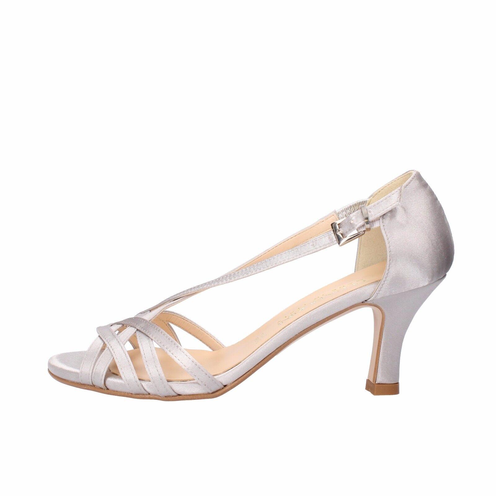 scarpe donna OLGA RUBINI 38 EU sandali argento raso AF133-D3
