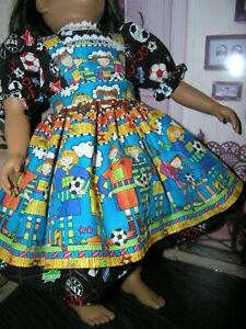 Black-Soccer-Dress-Sport-Print-Apron-2-piece-Dress-23-034-Doll-clothes-fit-My-Twinn