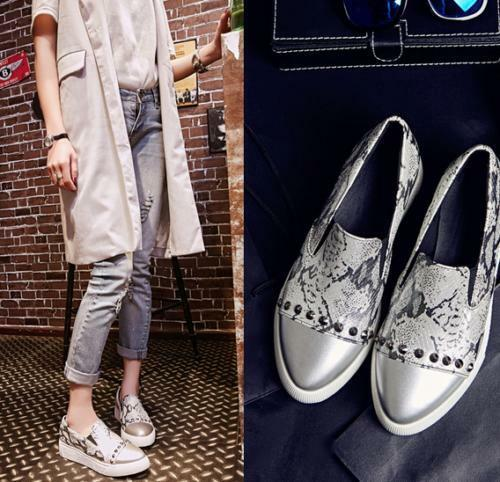 Womens Rivet Spike Fashion Sneaker Pointy Toe Athletic Slip On Flats shoes Size