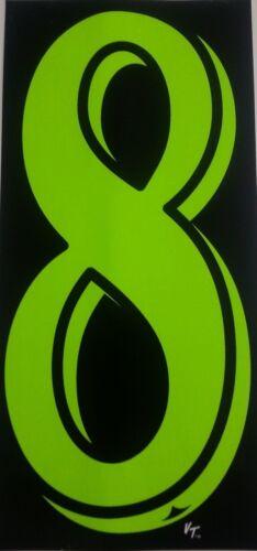 "Green dealer vinyl window numbers #8 three packs of twelve 8.5/"" auto supplies"