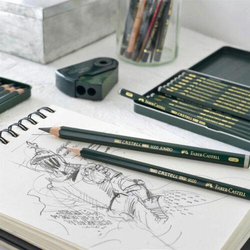 Faber-Castell Castell 9000 Negro Plomo Lápiz De Dibujo De Grafito Dibujo /&