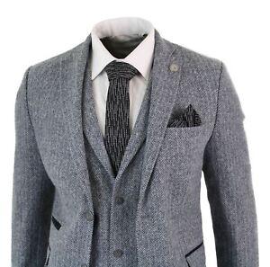 costume 3 pi ces laine tweed chevrons gris clair vintage. Black Bedroom Furniture Sets. Home Design Ideas