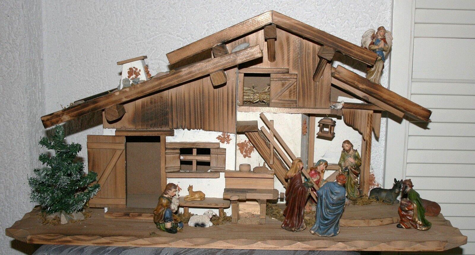 Krippe Weihnachten Holz 75 x 25 x 35 cm    Krippenstall Krippenfig. 11tlg LED-Bel. | Flagship-Store  b863b4
