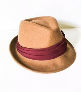 59181e677feda Image is loading Brown-wool-fedora-trilby-hat-Womens-Mens-Hat