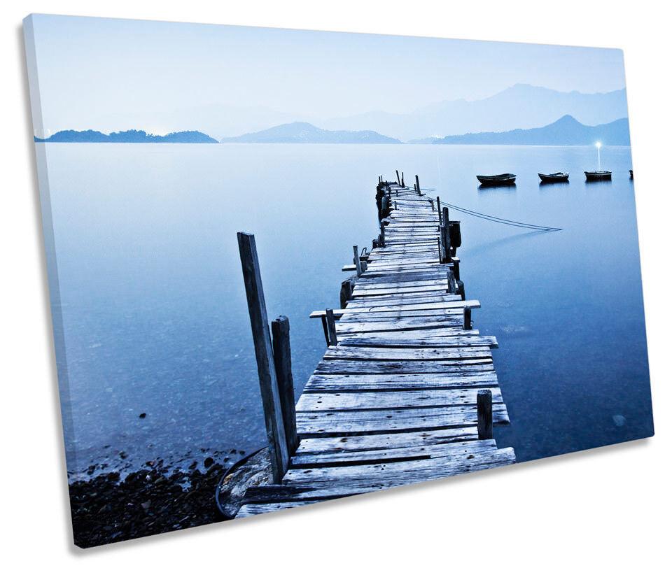 Jetty Lake Lake Lake Pier Sunset Blau Picture SINGLE CANVAS WALL ART Print 85167c