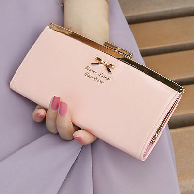 Lady PU Leather Bowknot Button Hand Bag Bifold Long Clutch Wallet Purse Women