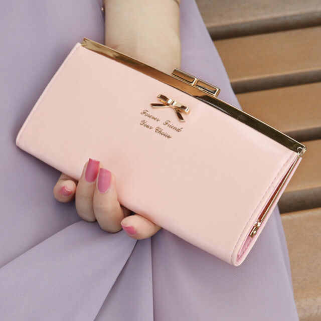 New PU Leather Bifold Long Clutch Wallet Purse Bowknot Button Hand Bag Lady