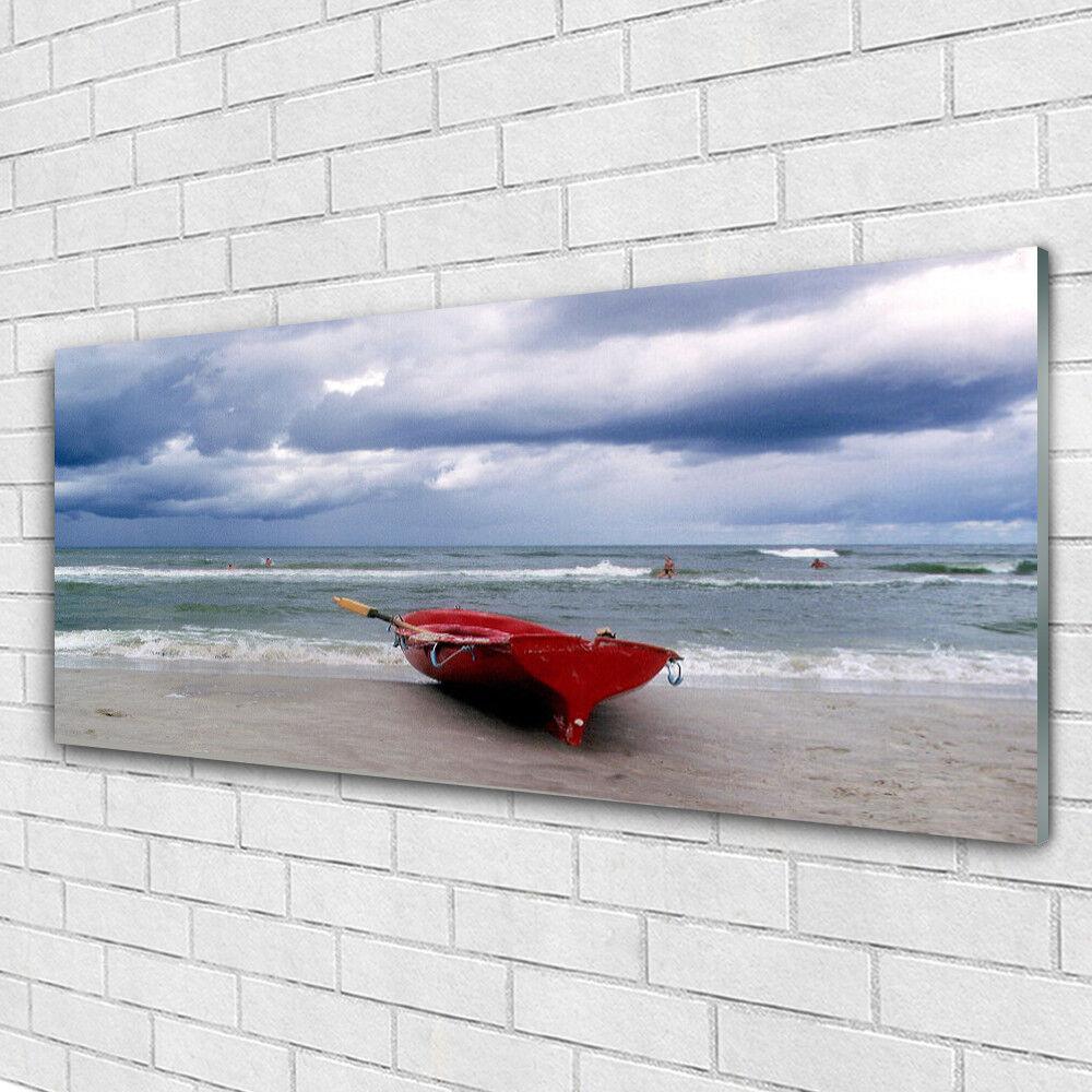 Impression sur verre Image tableaux 125x50 Paysage Mer Plage Bateau