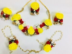 Artificial Flower Jewelry Indian Handmade Pearl Wedding Floral Necklace Set 6Pcs