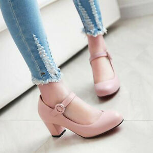 Womens-Sweet-Ankle-Strap-Mary-Jane-Court-Shoes-Round-Toe-Mid-Block-Heels-Pumps-Y