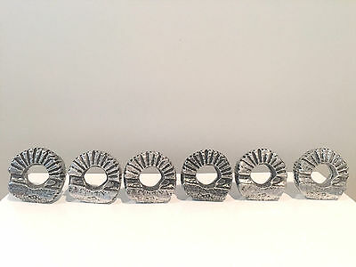 Don Drumm Brutalist Mid-Century Modern Set of 6 Cast Aluminum Napkin Rings
