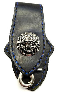 Biker-Skull-Indian-Trucker-Blue-Stitch-Leather-Belt-Clip-Keychain-Key-Holder