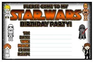 1 X Star Wars Childrens Blank Fill In Diy Birthday