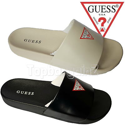Guess Womens Mens Slides Sandals Beach Summer Black Flip Flipos Slip On Sliders