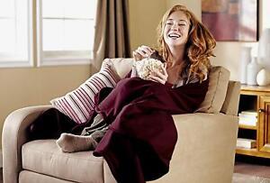 Electric Fleece Blanket Heated Quilted Warm Winter Bed Full Garnet Zebra Black