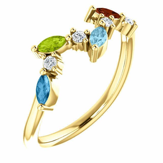 Marquise Stones 10K or 14K Solid gold Family Ring 1 to 6 Birthstones