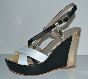 Divietto Leder Metallic Ankle Strap Wedges Sz 6 Made New Made 6 in Brazil ... bb221c