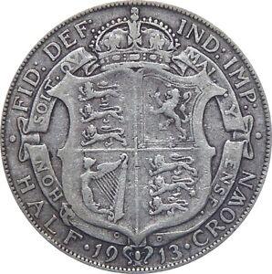 1911 To 1919 George V Argent Demi-couronne choix de l'année/date