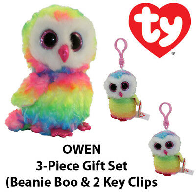 "Boo /& 2 Key Clips 3-Piece TY ""Owen"" the Owl Gift Set"