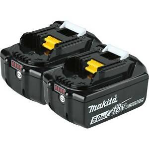 (2) New Genuine Makita Brand BL1850B-2 18V Batteries 5.0 AH LED 18 Volt LXT
