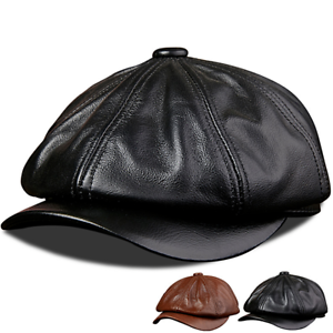 3b0f7415704e5b Men's Fashion Genuine Leather Beret hat Cowhide Casual Newsboy Cap ...