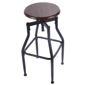 New Vintage Bar Stool Metal Design Wood Top Height