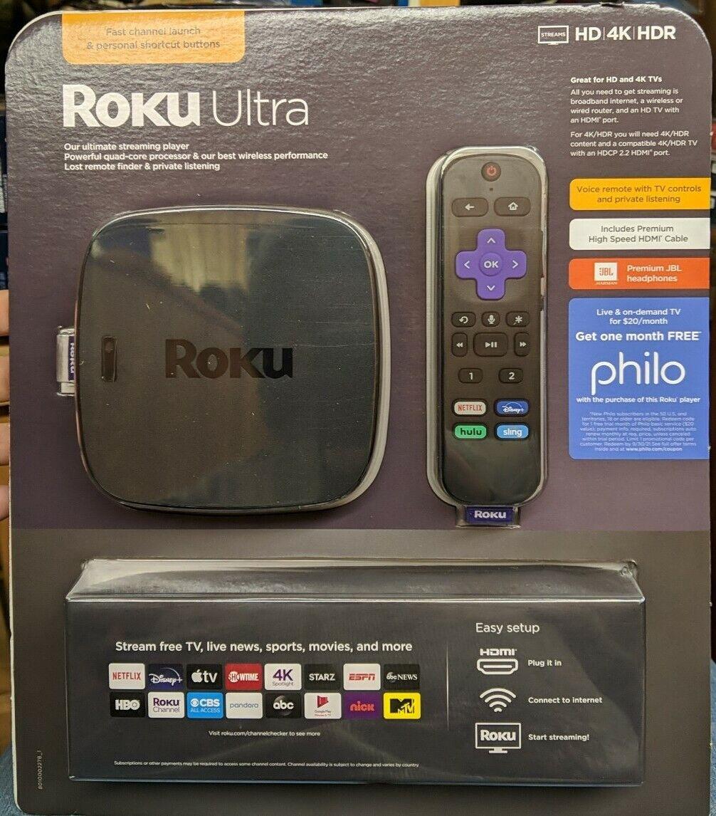 ROKU ULTRA Streaming Media Player 4K/HD/HDR w Premium JBL Headphones NEW!!! (CR) headphones jbl media player premium roku streaming ultra