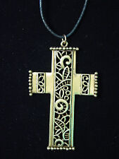 """JJ"" Jonette Jewelry Bronze Pewter 30"" Cutout CROSS Necklace"