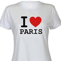 I Heart Love Paris  Ladies Womens Fitted T-Shirt