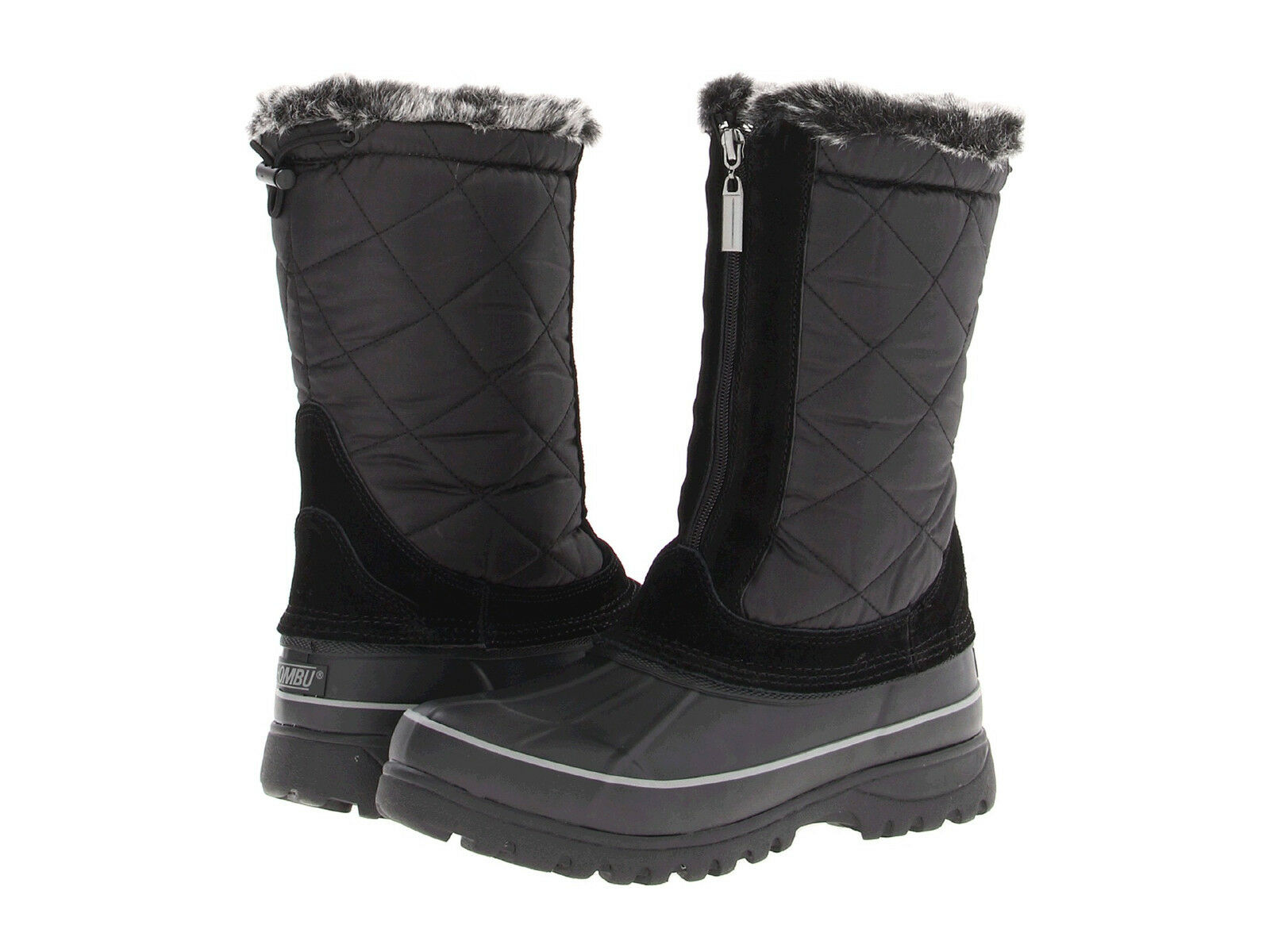 KHOMBU Women's Upland 2 Boot Black Weatherproof Winter Faux Fur NEW Zipper Nylon
