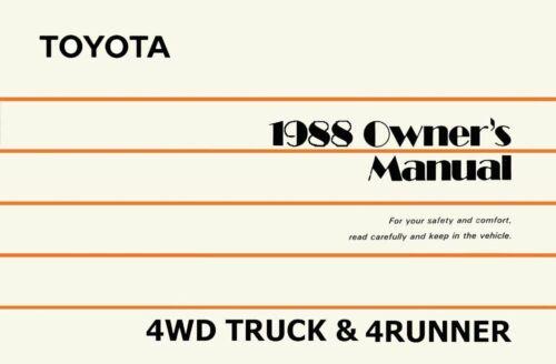 OEM Repair Maintenance Owner/'s Manual Bound for Toyota 4Wd Truck /& 4Runner 1988