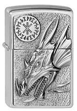 ZIPPO Feuerzeug DRAGON WITH AMULET Brushed Chrome Drachen Amulett  NEU OVP