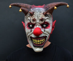Details about Creepy Evil Scary Halloween Clown Mask Latex Evil JESTER CLOWN