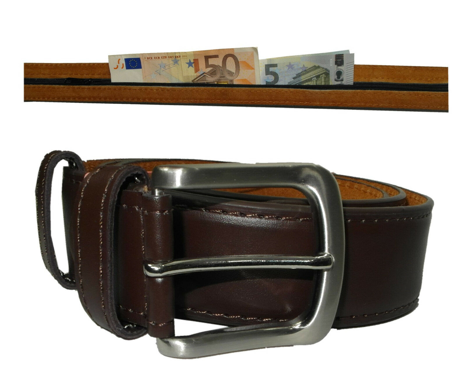 Gürtel mit Geheimfach Braun -Geld sicher im Urlaub - Geldgürtel Tresorgürtel AB
