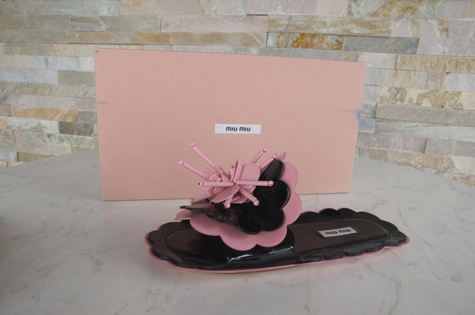 MIU Miu taglia 38,5 Sandali Sandali Ciabatte Scarpe Nere Rosa Nuovo UVP