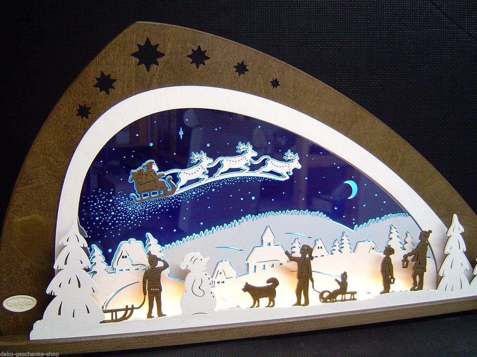 3D LED Lichterbogen Plexiglas Schwibbogen mit Holz Santa Claus 66 x 34 cm 10519