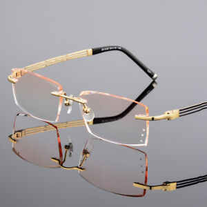 9710b7810ba0 Men s Reading Glasses Rimless Cutting Lens with Rhinestone Eyewear ...