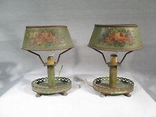ANCIENNE PAIRE DE PETITES LAMPES BOUILLOTTE EN TOLE LAQUE DECOR  FLEURS CHEVETS