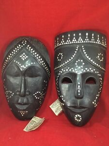 PAIR WOOD HAND CRAFTED MASK MADE IN INDONESIA