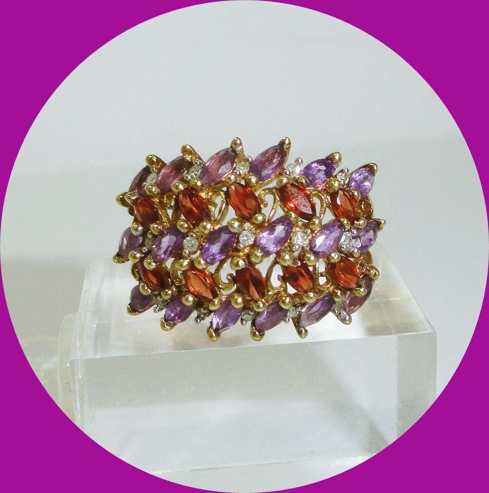 Charming 10kt Yellow gold Amethyst, Garnet & Diamond Ring-- Size 7.25