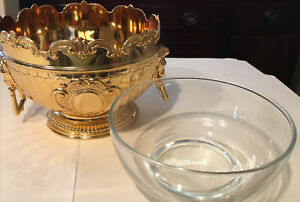 Gold Tone Glass Chilling Monteith Bowl w// Lion/'s Head Handles* Corbell /& Co