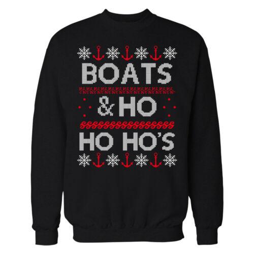 Ugly Christmas Silly Vacances De Noël BATEAUX /& HO HO HO Sweat-shirt//T-Shirt