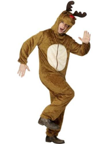 MENS REINDEER ADULT FANCY DRESS COSTUME XMAS ANIMAL BODY SUIT SLEIGH OUTFIT