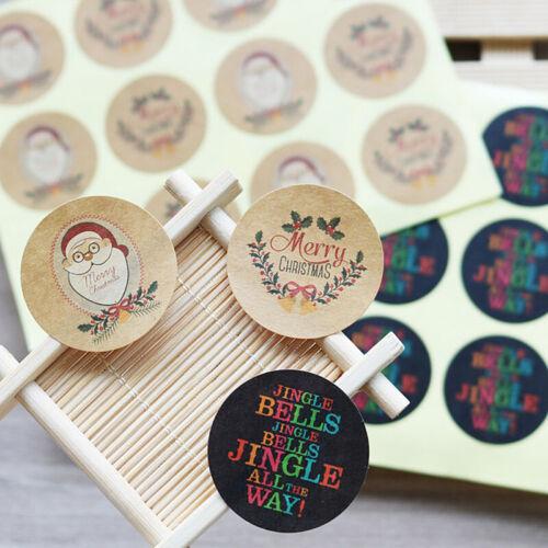 120 Pcs Kraft Paper Xmas Seal Label Sticker Merry Christmas DIY Paper Gift Decor