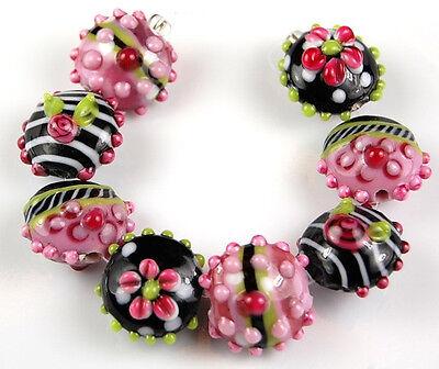 8 PCS Lampwork Glass Beads Handmade Black Pink Lime Lentil Flower Jewelry Craft