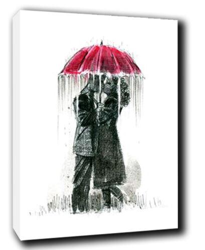 heroes umbrella kiss isaac mendez painting canvas art print