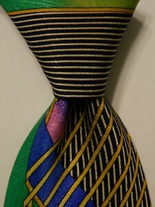 VITALIANO-PANCALDI-Mens-100-Silk-Necktie-ITALY-Luxury-Multi-Colored-Classic-EUC