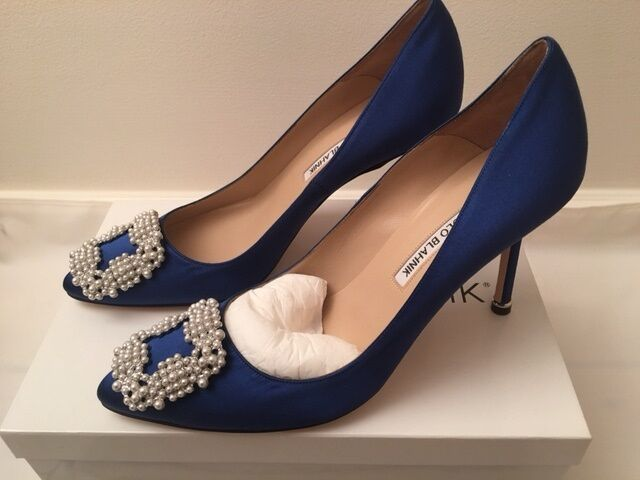 3ec8f7391c2bb NIB New MANOLO BLAHNIK Hangisi 90 Pearl Satin Pumps BLUE MB Sizes 38-40.5  $965 for sale online
