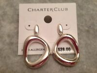 Brand - Charter Club Silver Circle Drop Earrings - Free Ship